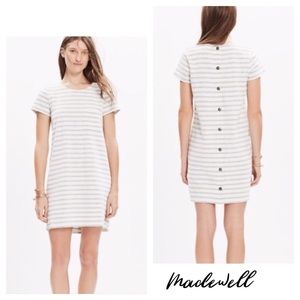 Madewell Button Back Gray and White Striped Dress